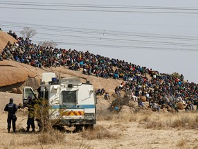 protesters outside a South African mine in Rustenburg