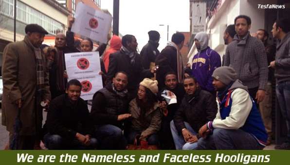 Some of the Nameless and Faceless members or EYSC that vandalized the Eritrean Embassy in London