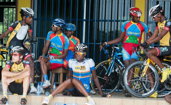 Eritrean National Team members  having chat with their fellow country men who are now riding for MTN in Gabon shortly after arrival