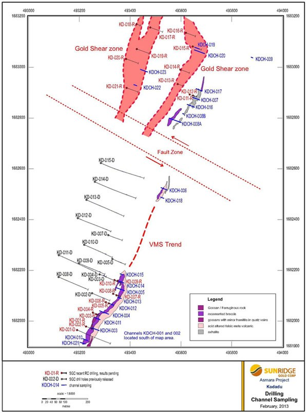 Map showing Drilling and Channel Sampling at the Kodadu Deposit.