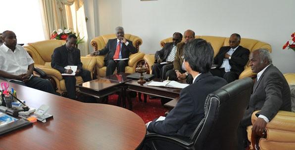 The Eritrean delegation led by Dr. Tadasse Mehari , the Executive Director for NBHE, Prof. Mihrete'ab, JICA Asmara office representative Mr. Tsuneo Tsurusaki, Mr. Yohannes Berhe, first secretary at the Eritrean Embassy in Nairobi are among others