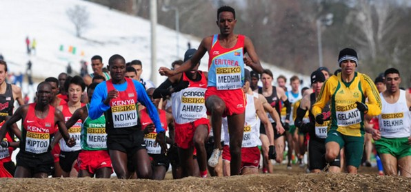 Teklemariam Medhin leading early at the 2013 World Cross-Country Championships
