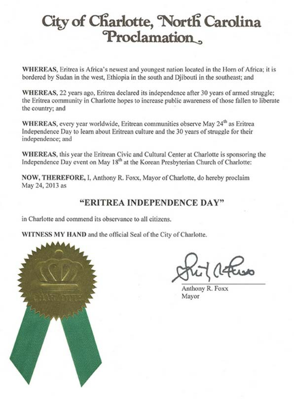 Congratulating the people and state of Eritrea, Mayor of Charlotte, North Carolina, Anthony R. Foxx