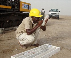 Eritrean Geologist labeling drill smaples at Colluli potash deposit