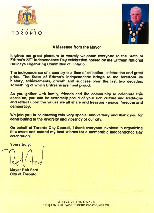 Congratulating the people and state of Eritrea, Mayor of Toronto city, Rob Ford