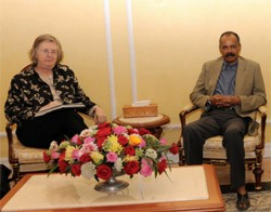 EU Special Representative for Sudan and South Sudan, Dr. Rosalind Marsden with President Afwerki