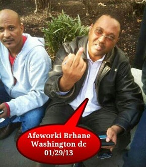 Afeworki Brhane flipping off Eritreans after several of his EYSC partners were arrested by police for attempting to vandalize Eritrean Embassy in Washington D.C. - 01/29/13