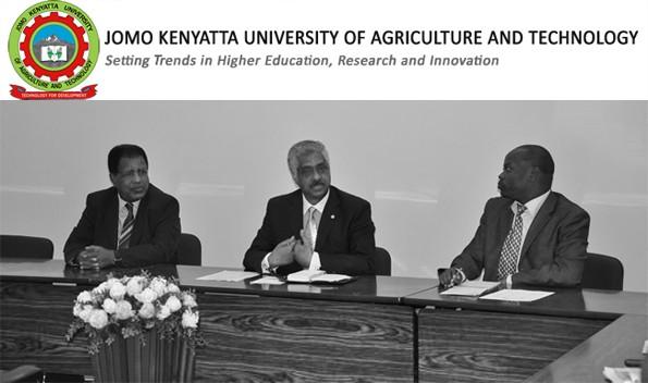 Prof. Romanus Odhiambo (right) DVC Academic Affairs hosts NBHE Executive Director,Prof. Tadesse Mehari (Centre) at JKUAT . Left is Yohannes Berhe, 1st Secretary, Embasy of Eritrea, Nairobi