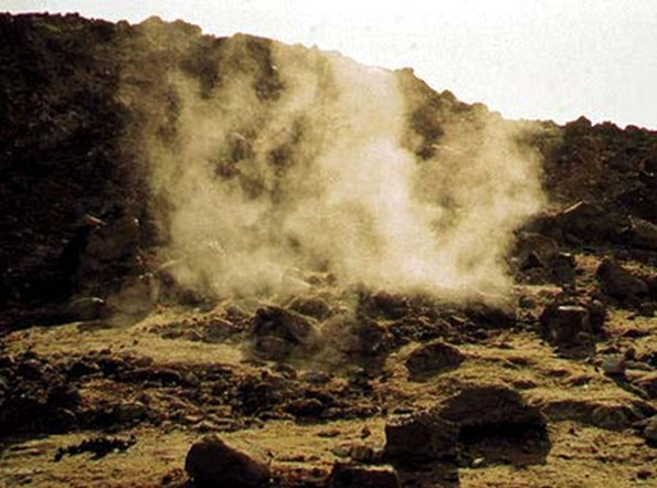 Figure 3 - Alid Volcano  Steam escaping at the boiling point of water (~98°C at this elevation) from Alid's summit [xvii]