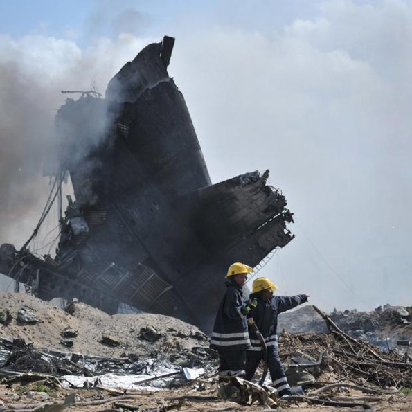 Military Cargo Plane turned in to ashes