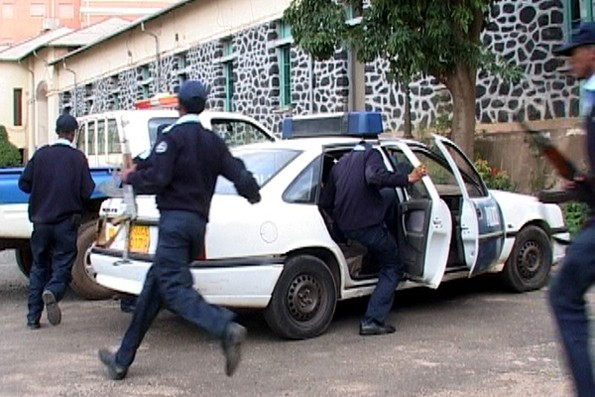 Officers in Eritrea heading out to conduct a raid as part of Operation Usalama, driven by EAPCCO and SARPCCO, supported by INTERPOL
