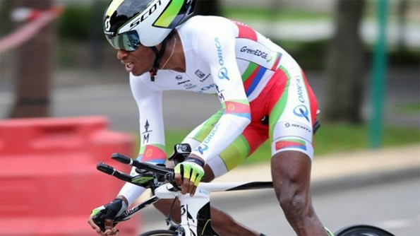 Eritrea's Daniel Teklehaimanot competes in the prologue Grenoble to Grenoble (5.7 km) of the 64th edition of the Dauphine Criterium cycling race, on June 3, 2012. Eritrea's competitive cyclists have zoomed forward in recent years, boosted by a training centre set up in South Africa by the International Cycling Union (UCI) in 2005. (AFP/File)