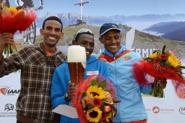 Eritrean Winners of the  Asitzbahn Summit Mountain Running: 1st - Petro Mamo, 2nd Yossief Teklay, and 3rd Azaria Teklay