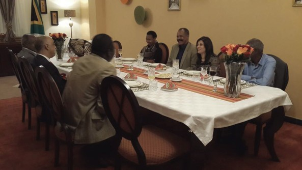 """South Africa's Ambassador Prof. Iqbal Jhazbhay inviting President Isaias Afwerki for a Dinner on October 26, 2013.  Amb. Iqbal says """"He had a splendid evening, Insightful discussion & lighter moments from 7:30pm till 2:15am"""""""