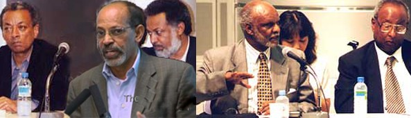 """The traitors group known by G-13, authors of the """"Berlin Manifesto"""" holding secret miteeing with Ethiopian Officials in Tokyo. (L-R) Addis Ababa University President Dr. Andreas Eshete, Pawlos Tesfagiorgis, Dr. Assefaw Tekeste, Dr. Bereket Habteslassie, Dr. Kifle Wodajo"""