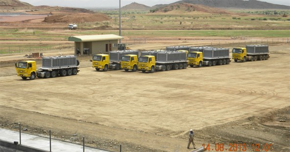 Copper Concentrate Trucks Waiting for Loading - Aug 2013