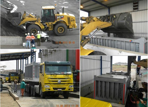 Copper concentrate loading operation details - Loading, weighing, truck was and departure