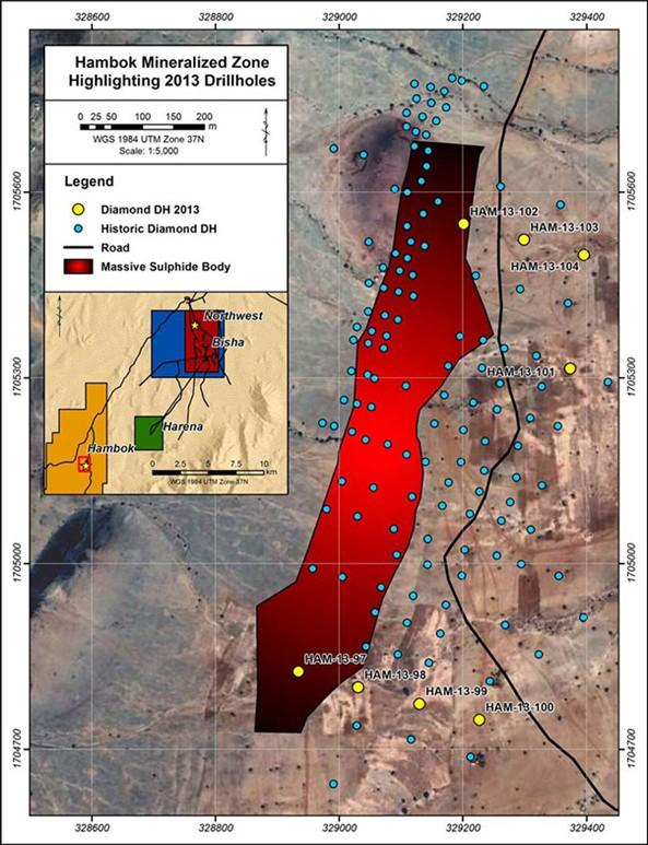 Hambok Miniralized Zone Highlighting 2013 Drillholes
