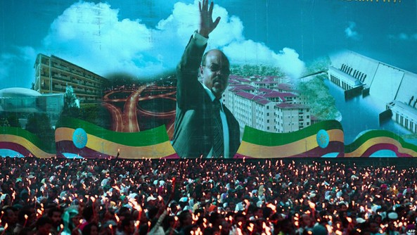 A televised tear of mourners for the late totalitarian dictator and Prime Minister of Africa's Nrth Korea, Meles Zenawi