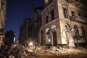 Destruction in the Egyptian city of Mansura, North of Cairo, following a powerful explosion.