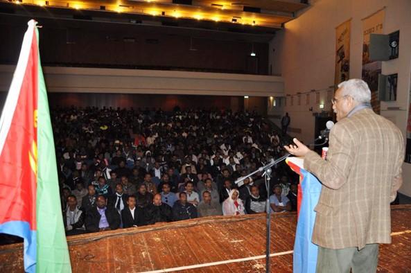 Ambassador Tesfamariam  Tekeste addressing the Eritrean community in Israel