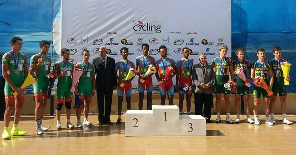 Eritrean National Team winning Team Time Trial at the 2013 African Championship - Egypt