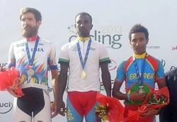 Eritreans Tesfom Okbamariam winning the 9th African Continental Championship title