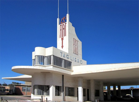 The Futurist Style service station building in Asmara, capital city of Eritrea, the Fiat Tagliero, is designed by the Italian architect Giuseppe Pettazzi and completed in 1938
