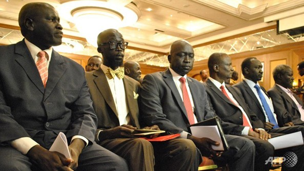 Members of the delegation opposed to South Sudan's government attend talks in Addis Ababa