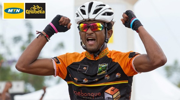 """""""Outnumbered two to one in the final kilometre, the young climber from Eritrea attacked, distancing himself from Hendricks and Kruger and winning the 2014 Macsteel Carnival City National Classic."""""""