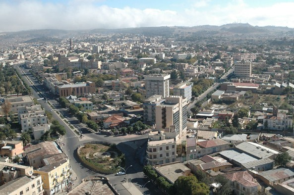 Arial view of the Capital Asmara