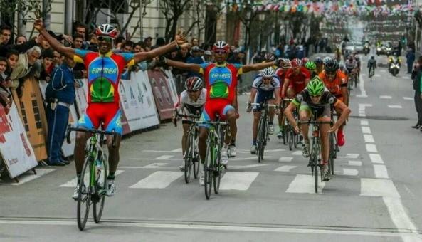Eritrean riders MeksebDebesay and Yonas tekeste winning last stage of Tour International de Setif (2.2) in Algeria