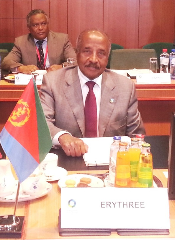 Eritrean Foreign Minister H.E. Osman Saleh and Ambassador Girma Asmerom (behind) at the 4th EU - Africa Summit in Brussels