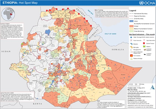 Ethiopia synonymous to hunger?   A map showing areas that are critically affected by hunger.
