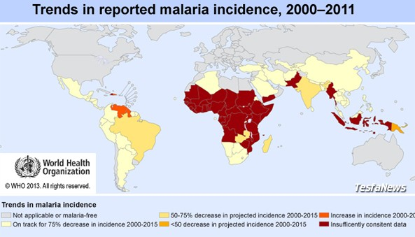 Trends in reported malaria incidence, 2000 - 2011 (Data Source: WHO World Malaria Report 2012)