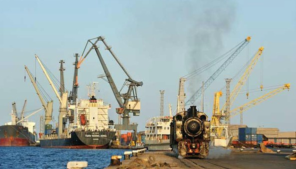 The major, modern Port of Massawa in Eritrea