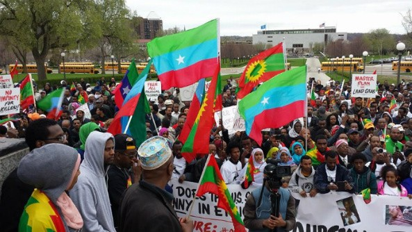 Protest in Minnesota, U.S.A The Killings of 47 innocent students from Oromia outrage Minnesota's Oromo community