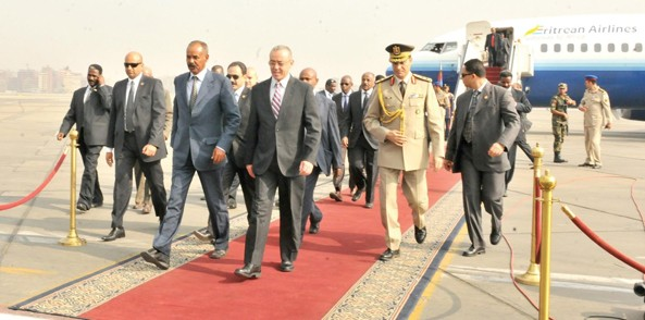 President Isaias arrives at Cairo International Airport  to attend the sworn in ceremony of new Egyptian president