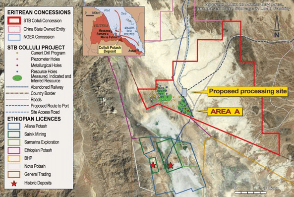 Map showing location of South Boulder's Colluli project in Eritrea and Allana's concession in Ethiopia