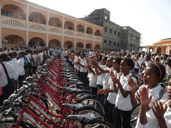 Girl students at the St. Francis school in the port city of Massawa are beneficiaries of bicycles to enabling them to reach the school while living at several kilometres distance