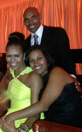 First Lady Michelle Obama joins Boston Marathon winner Meb Keflezighi and his wife, Yordanos in the White House