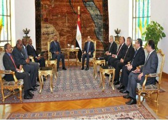 Eritrean delegation reception at the Egyptian presidential palace in the Presence of the two leaders