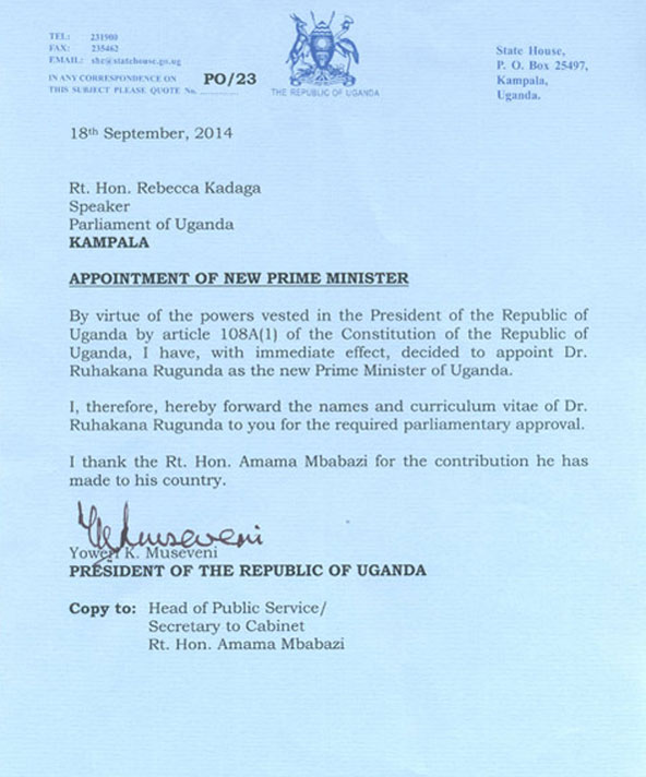 M7 Letter that sacked PM Mbabazi