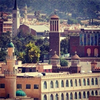 Downtown Asmara where one finds the peaceful co-exist of different religions, for hundreds of years, respecting their differences