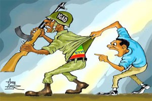 IGAD, under Ethiopian chairmanship, is caught in a position of conflicting loyalties. With Ethiopia accused of symphtizing with the rebels, the Kiir government shouldn't expect Ethiopia to condemn one its own stooge