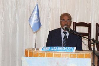 Minister of Foreign Affairs, H.E. Osman Saleh Addressing the Audience During UN Day