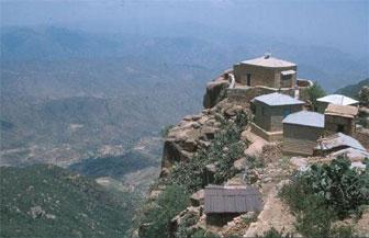 Debre Bizen monastery at the top of the Debre Bizen mountain near the town of Nefasit