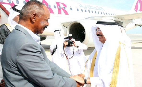 President Isaias arrives in Doha for a 3-days working visit at the invitation of Emir Sheikh Tamim bin Hamad Al Thani