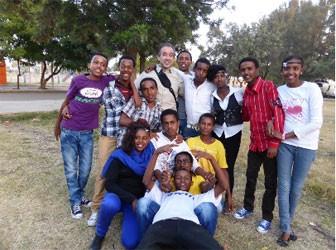 Ambassador Firat Sunel with students in Asmara