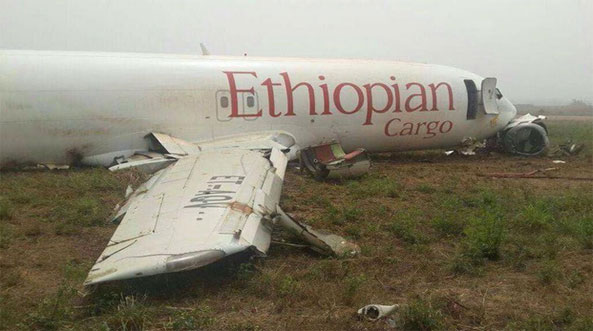 A Boeing 737-400 cargo plane sustained substantial damage in a runway excursion on landing at Accra-Kotoka Airport (ACC), Ghana